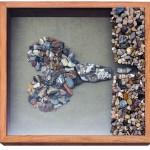 Found stones, wood frame, on metal frame, 20 x 22 x 5 in (50 x 56 x 13 cm)